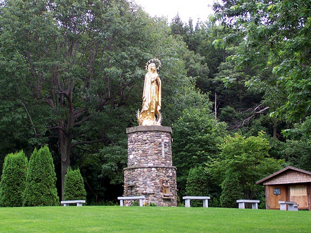 St Anne statue.  Saint Anne's Shrine is located on Isle LaMotte, a quiet island on Lake Champlain in Vermont. It was developed by the Society of Saint Edmund and has been maintained by them for 100 years..