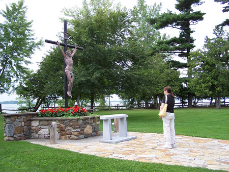 Calvary. Saint Anne's Shrine is located on Isle LaMotte, a quiet island on Lake Champlain in Vermont. It was developed by the Society of Saint Edmund and has been maintained by them for 100 years..